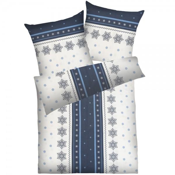 Weichfrottier-Bettwäsche Schneeflocke, grau-blau