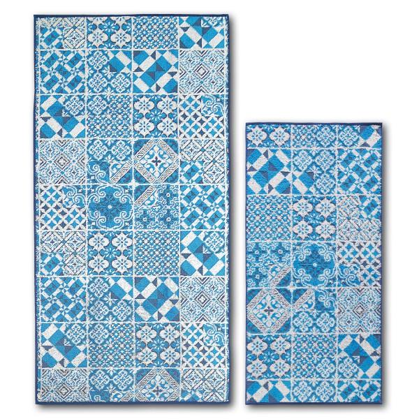 Frottierserie Blue Island, Tiles, blau