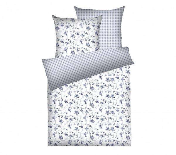 Weichfrottier-Bettwäsche Blumenranke, blau