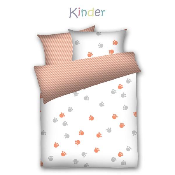 Kinder-Weichfrottier-Bettwäsche Pfötchen, orange