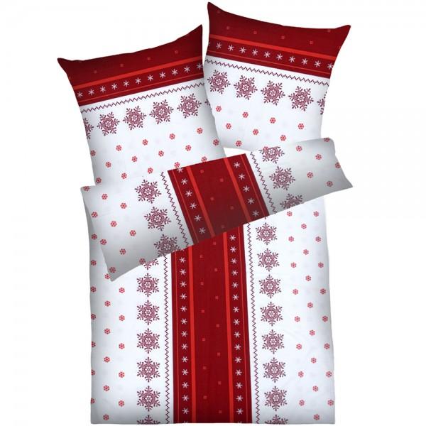 Weichfrottier-Bettwäsche Schneeflocke, rot