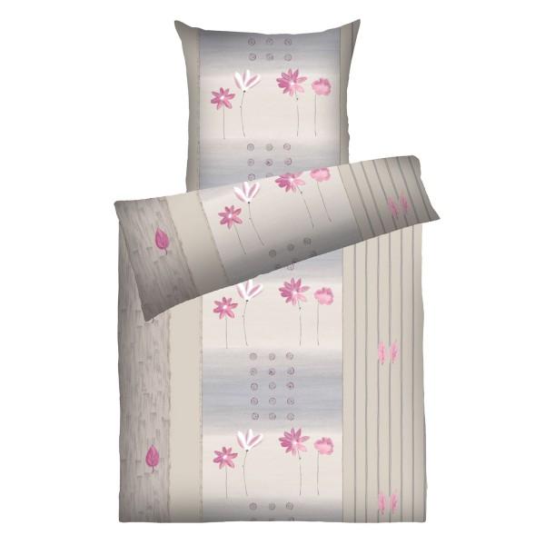 Weichfrottier-Bettwäsche Annabell, greige-pink
