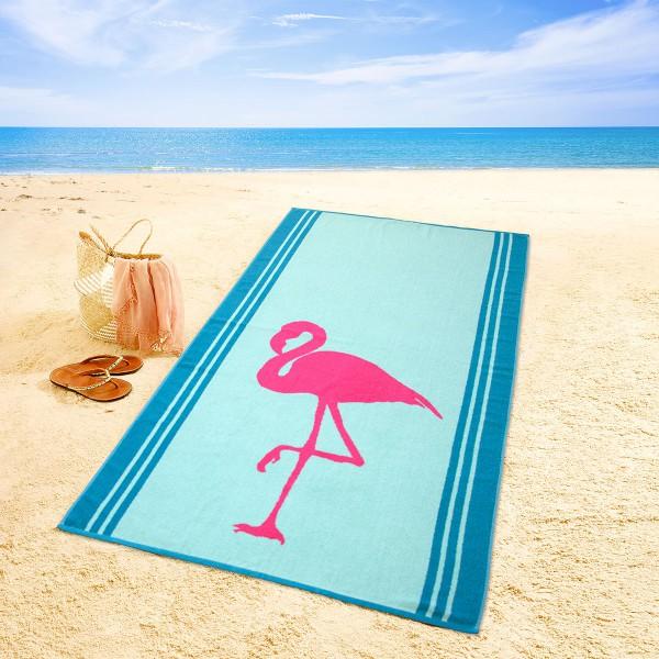 Strandtuch Flamingo, blau