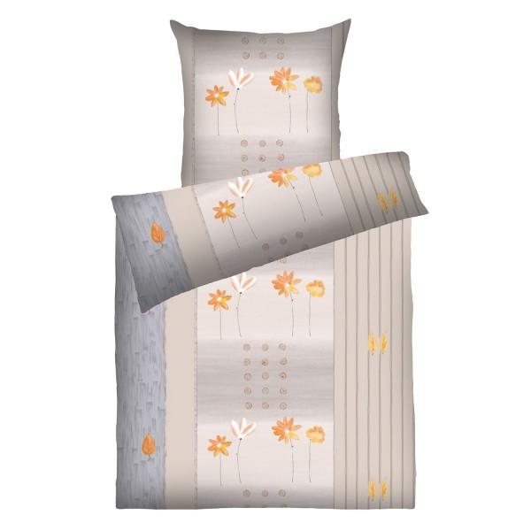 Weichfrottier-Bettwäsche Annabell, beige-orange